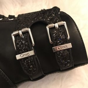 Circus by Sam Edelman Shoes - Black leather boots black glitter buckle & zippers